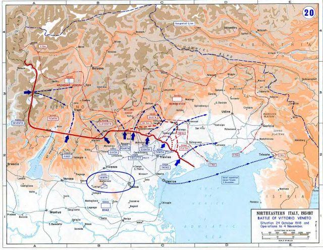 Карта северо восточной италии 1915 1917
